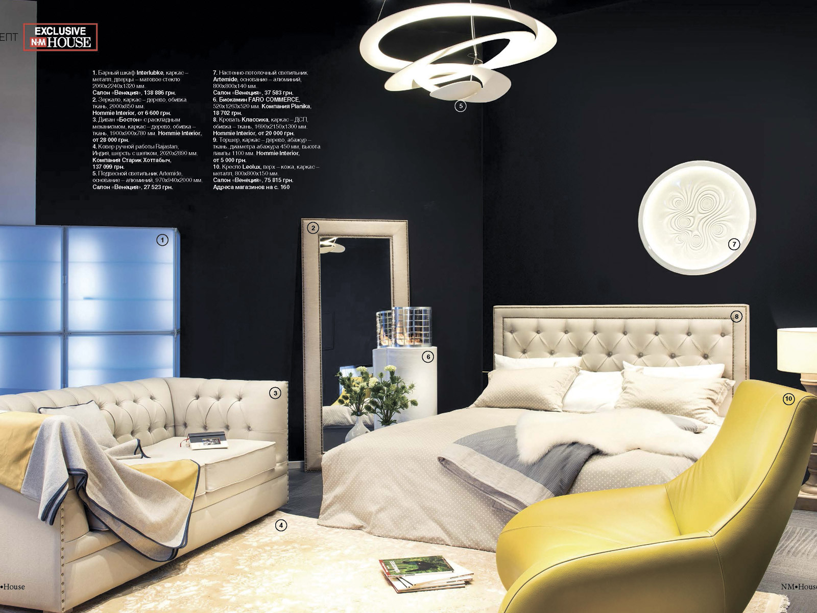 Концептуальная съемка для журнала NM HOUSE. Мобильный биокамин Planika Faro Commerce. Биокамин для спальни.