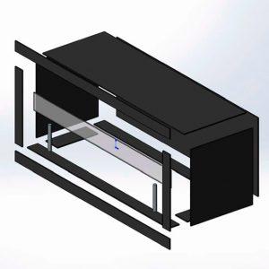 Стеклянный корпус для биокамина Planika c защитным стеклом, держателями и рамкой