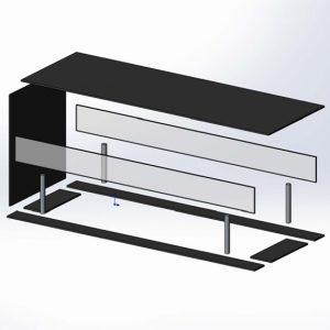 Стеклянный корпус для биокамина Planika открытого с трех сторон