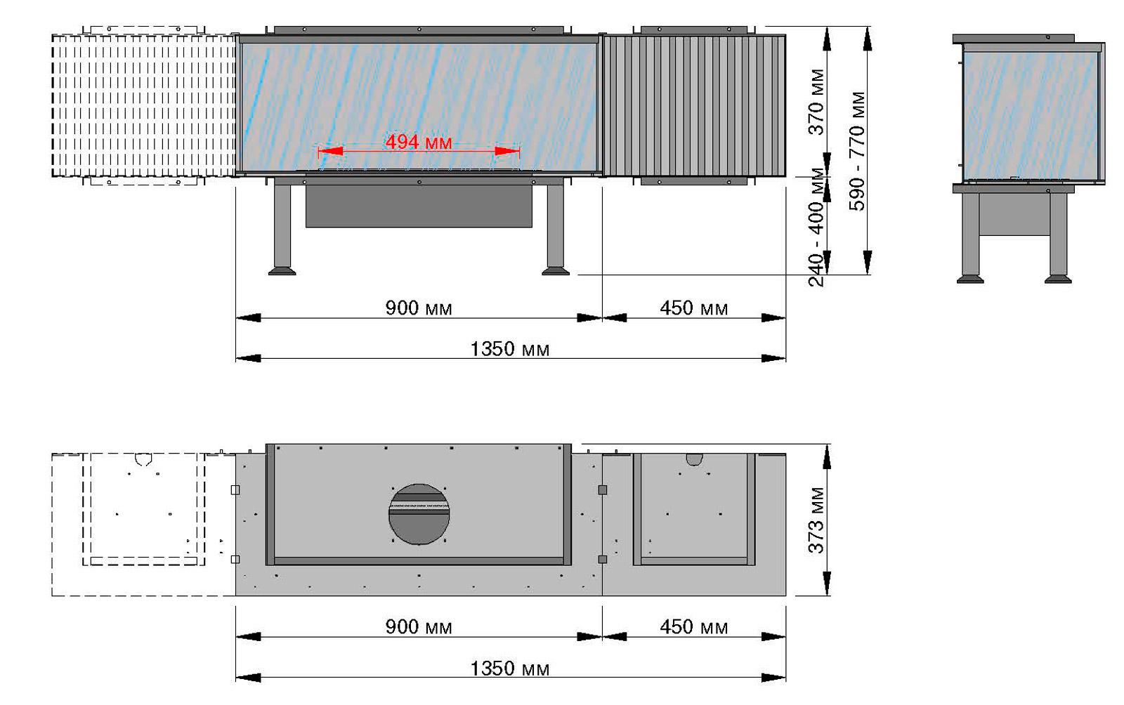 Размеры биокамина закрытый полностью стеклом Planika Fire Suite