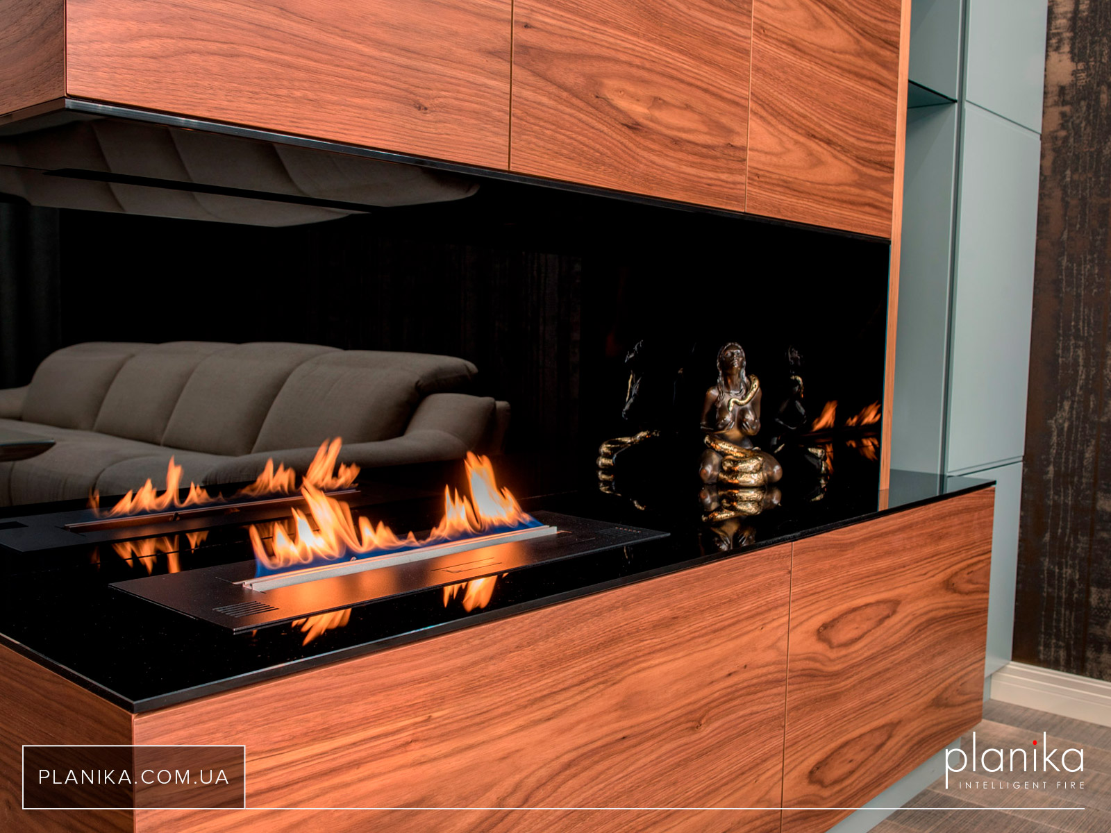 Интеллектуальный биокамин Planika Primefire встроенный в мебель