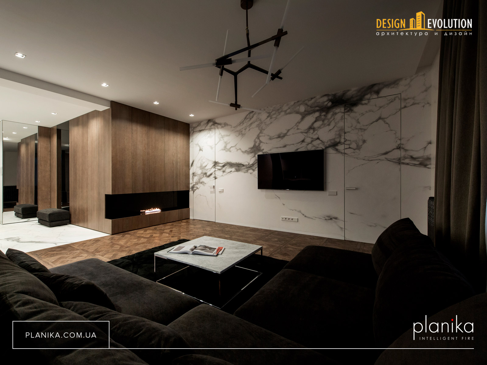 Биокамин в мебели Planika Primefire