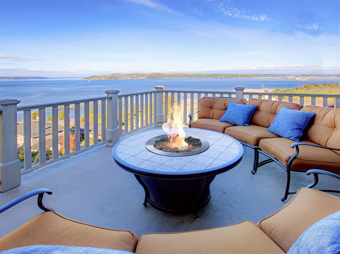 Galio Fire Pit Insert, Private waterside residence