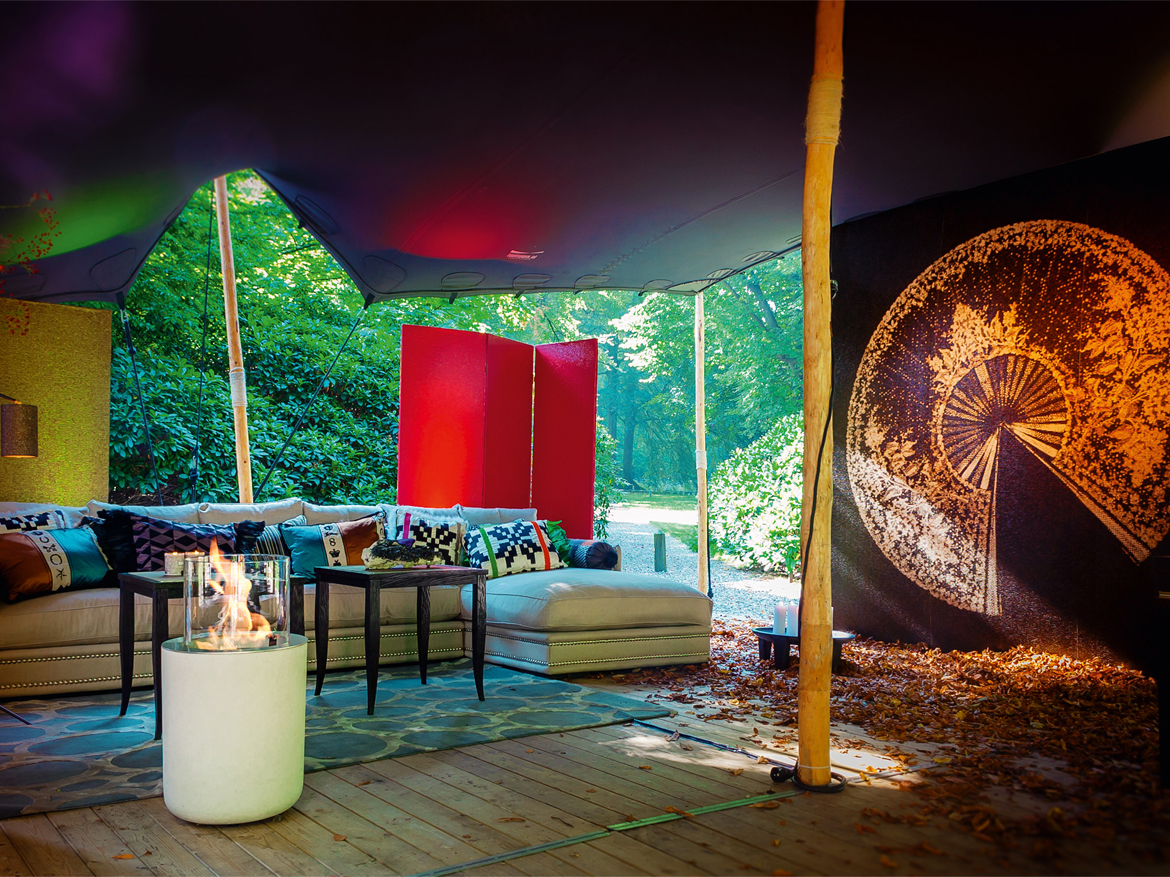 Jar, a freestanding fireplace by Planika, Commercial outdoor space