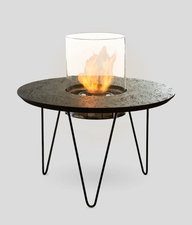 Fire Table Round Black OSB