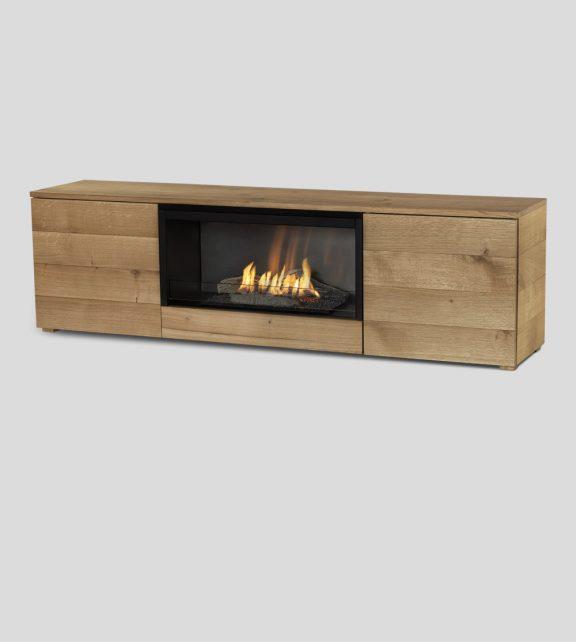 Pure Flame TV Box natural oak