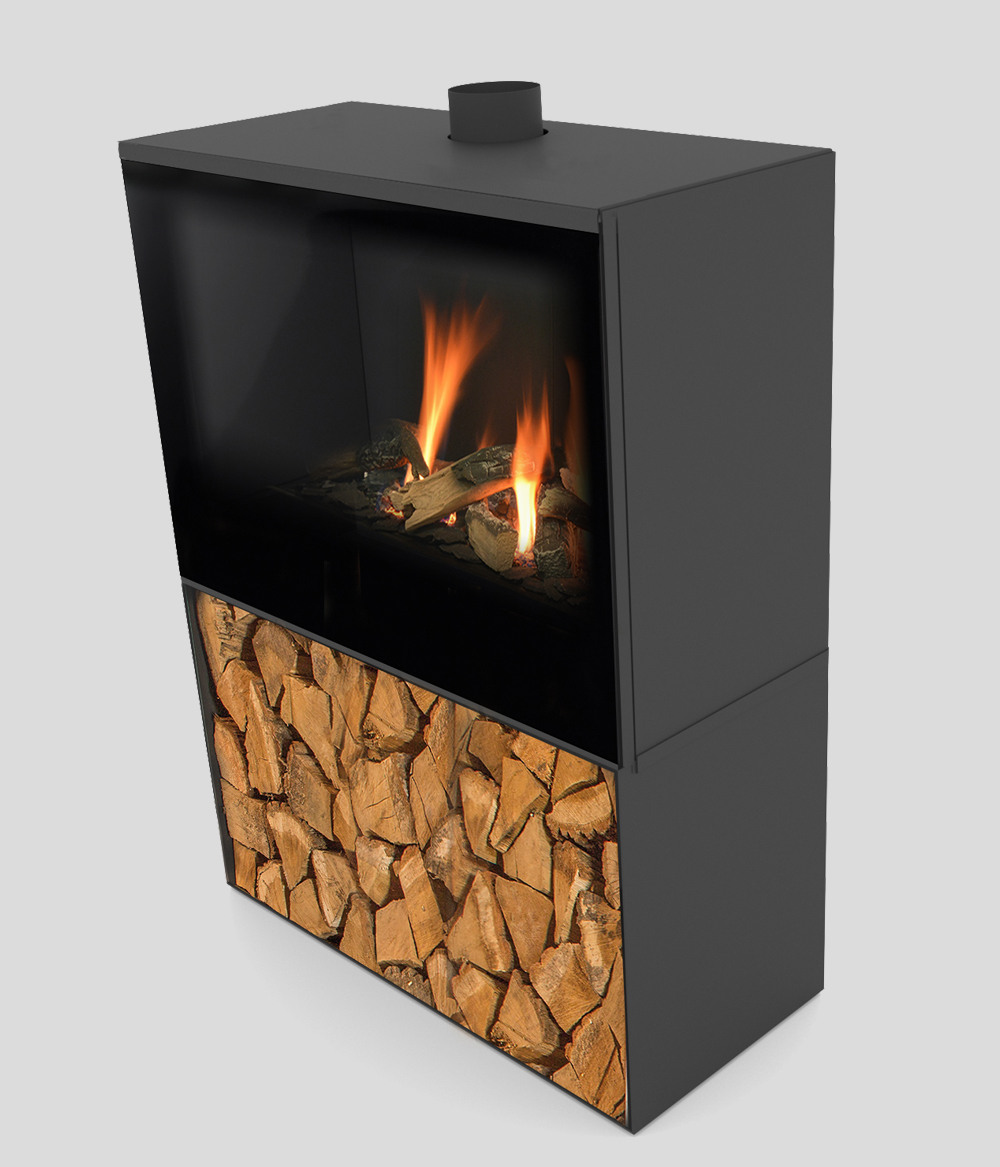 Versal Freestanding with woodbox 750